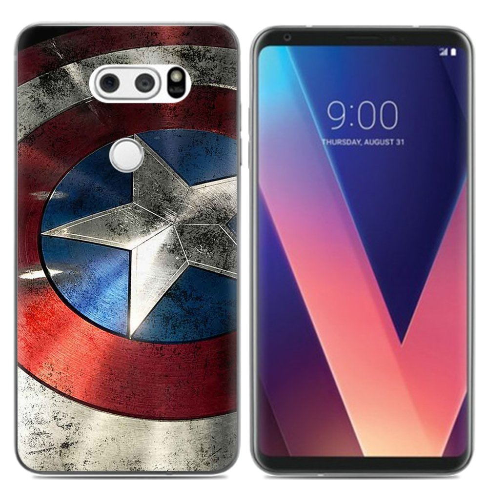 Aksuo for LG V30 Case,Women Girls boy Men Printed Transparent Clear Design Plastic Case with TPU Bumper Protective Cover,Captain America