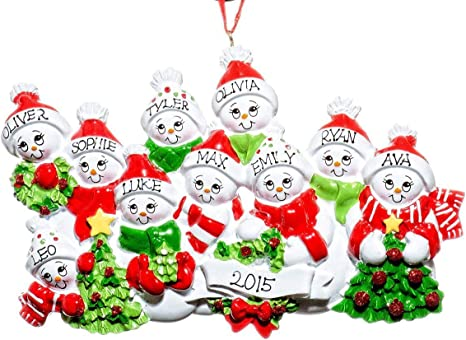 Family Tree 10 Names Personalized Christmas Ornament