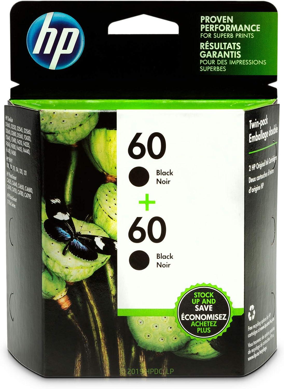 HP 60 | 2 Ink Cartridges | Black | CC640WN