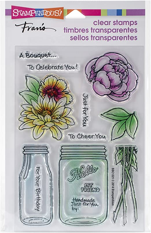 Stampendous Fran/'s Mason Jar /& Flowers Clear Stamp /& Die Cutting Set