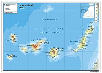 Kanaren Inseln Karte.Kanarischen Inseln Physikalische Karte Papier Laminiert Ga A2