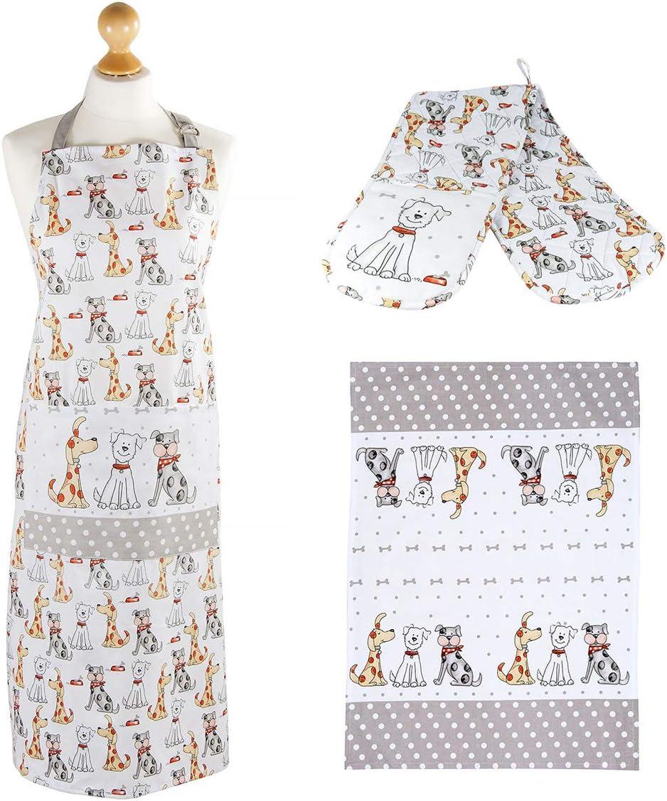 Set delantal, manoplas y paño de cocina con diseño de perros