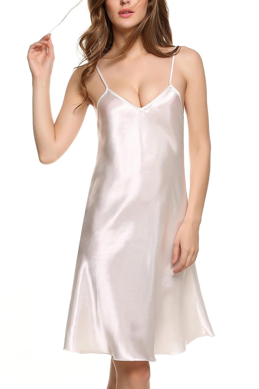 Goldenfox Women's Pure Colour Satin Nightdress Chemises Slip Sleepwear S-XXL GAM001416#