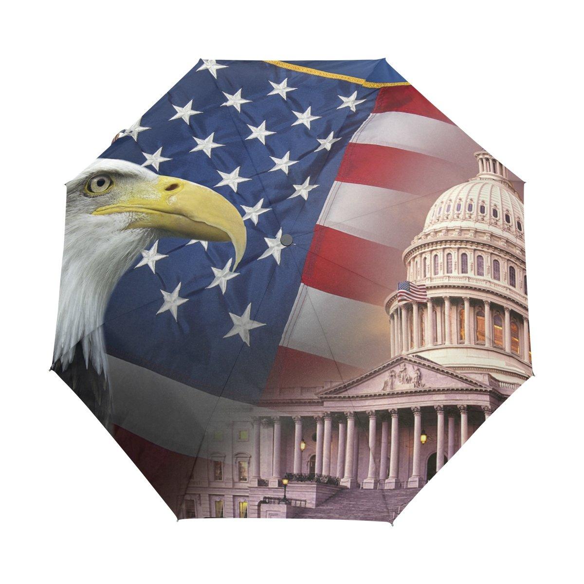Senya Saobao防風と防雨トラベル傘with自動開いて閉じFolding愛国シンボルのアメリカ合衆国アメリカのポータブル折りたたみ式太陽雨傘   B07FMCGQCY
