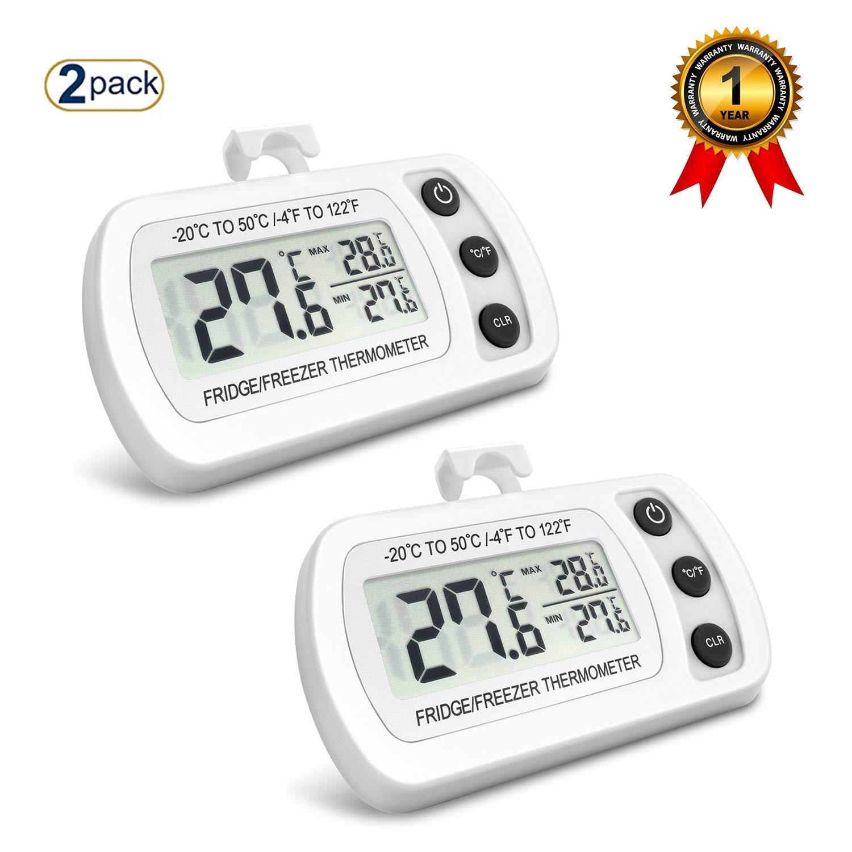 NEXGADGET Termómetro de Frigorífico Mini Digital Preciso LCD Refrigerador Monitor de Temperatura Máximo y Mínimo (