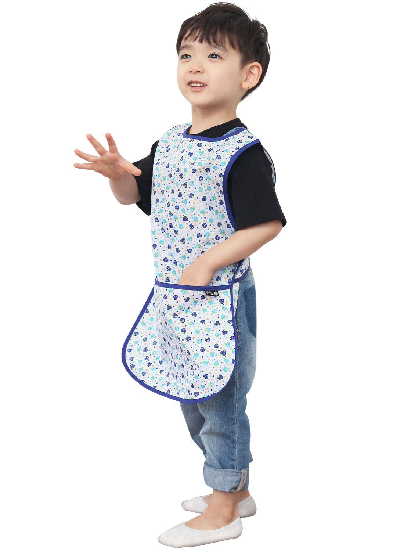 Plie Children Waterproof Sleeveless Art Smock Apron with Pockets Pink/&Green Dot 29-L