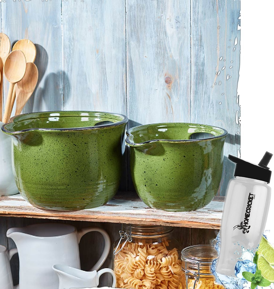 Gift Included- Country Farmhouse Kitchen Oversized Mixing Bowls Set of 2 Green + FREE Bonus Water Bottle by Home Cricket Homecricket