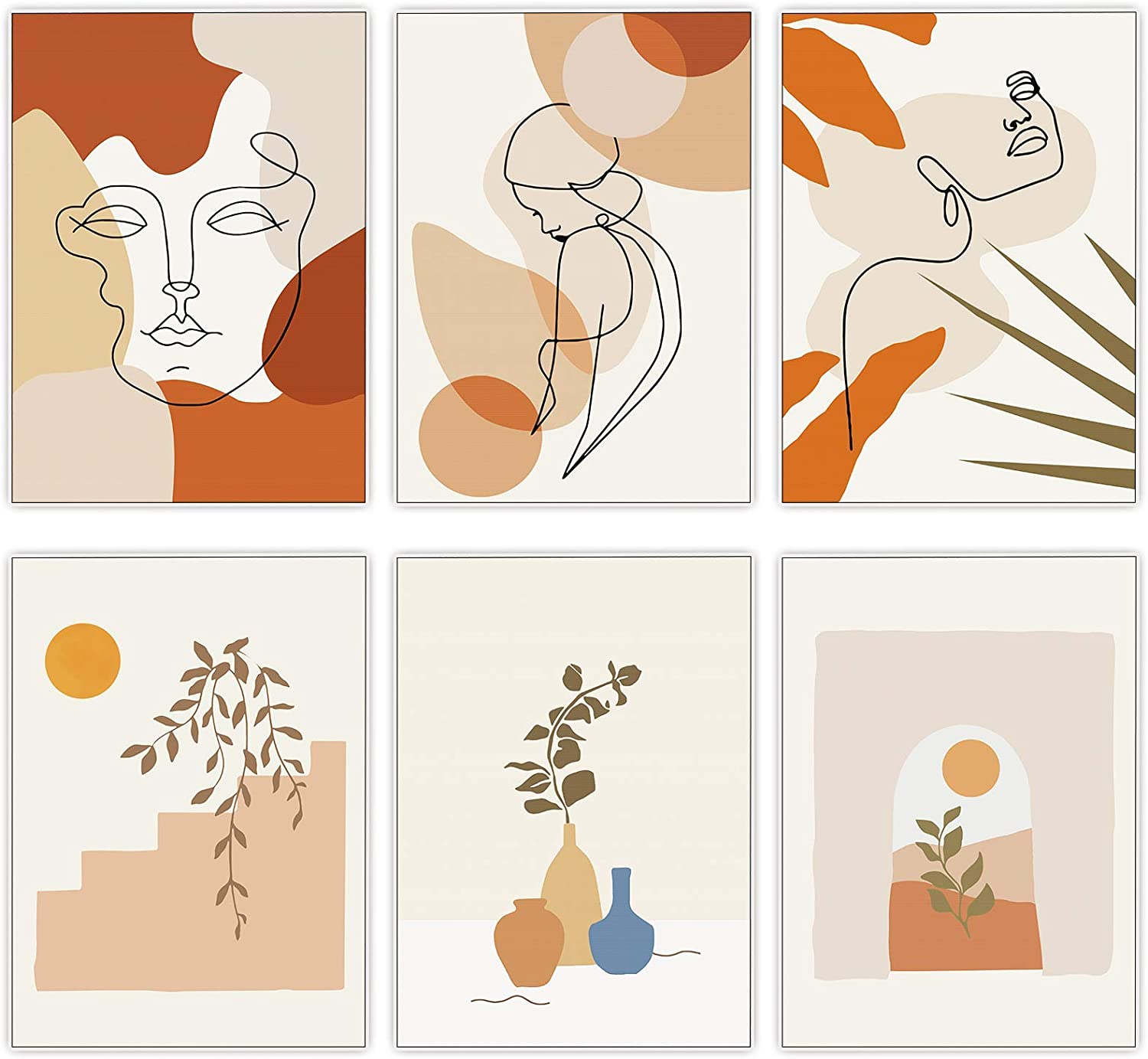 """Retyion 6 Pack Abstract Wall Art Prints ,Woman Line Art Botanical Plant Drawings Posters Prints Minimalist Line Art for Bedroom Decor/ Kitchen Decor/ Office Wall Decor, 9.8""""x13.8"""""""
