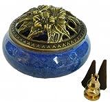【Rurumiマーケット】陶磁器 香炉 青磁 丸香炉 お香立て 渦巻き線香 などに 香立て付き (青)