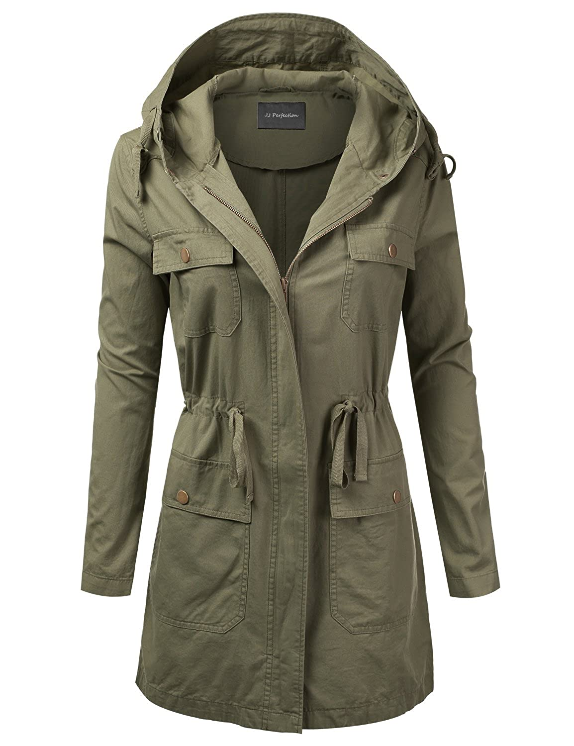 Awoja0441_olive JJ Perfection Women's Casual Lightweight Anorak Army Utility Hoodie Jacket