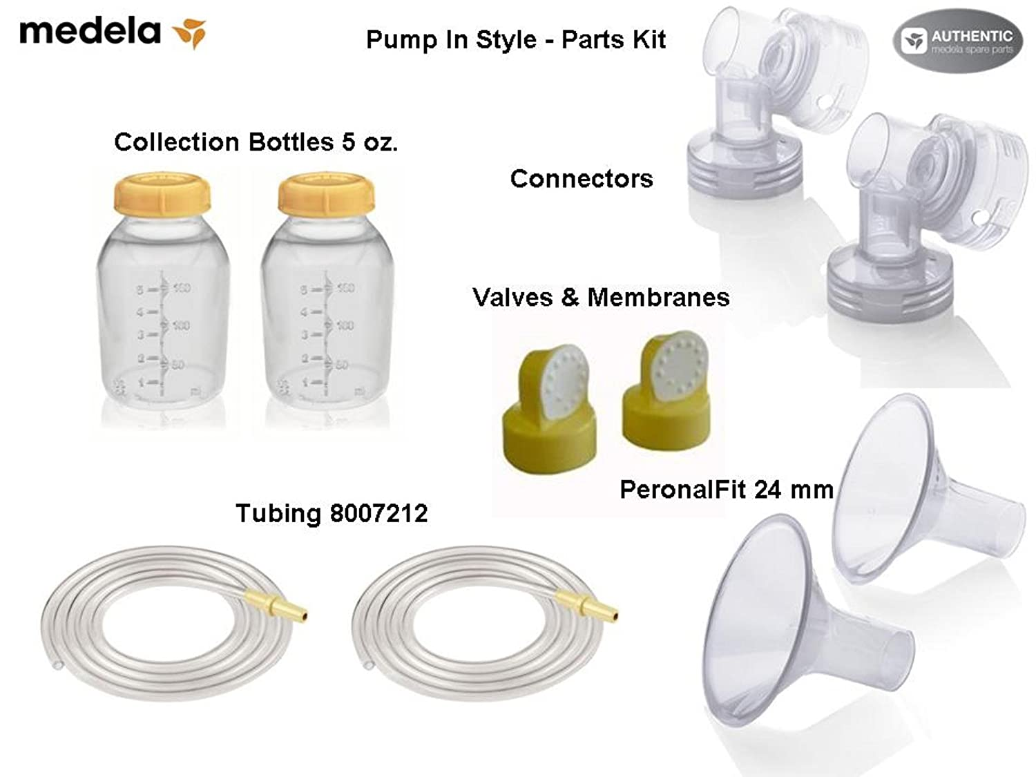 Medela Replacement Parts Kit Pump In Style Original/ Advanced with Medium 24 mm Breast Shield and Tubing #8007212