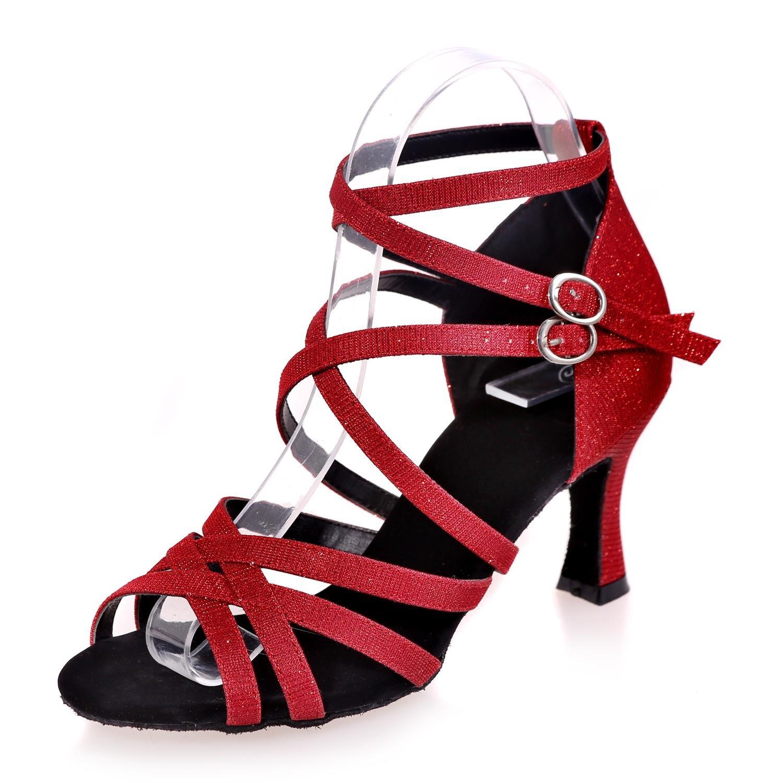 Frauen Tanzschuhe Tanzschuhe Tanzschuhe mit hohen absätzen Leder Glow Latin anfänger Professional Interior   B077DCZF8S Tanzschuhe Schönes Design 1b2b0f
