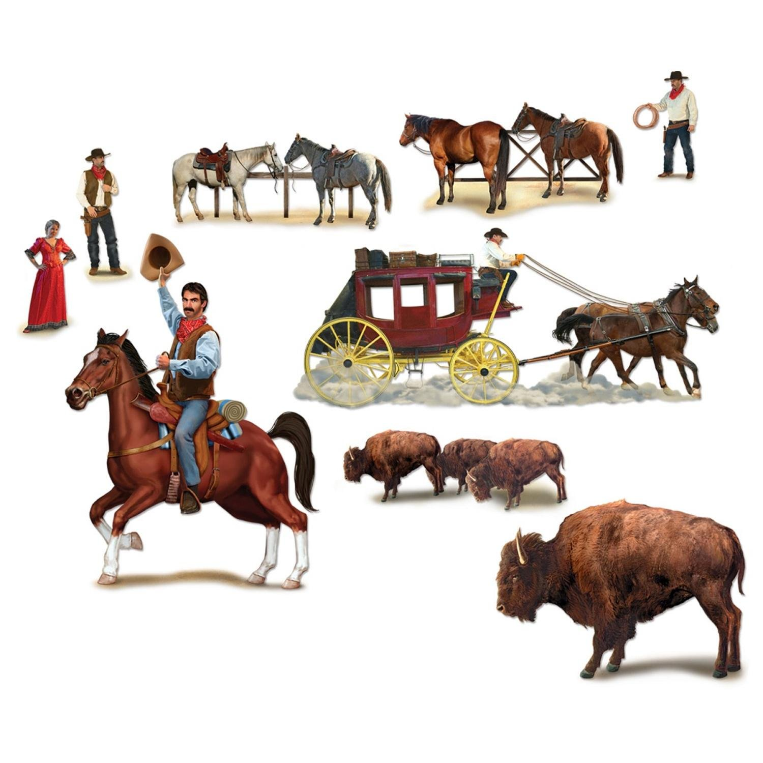 Club Pack of 108 Wild West Character and Animal Wall Decorations 4.3' by Party Central
