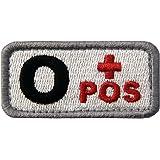 Táctico Tipo O positivo Tipo de sangre emblema Broche Bordado de Gancho y Parche de Gancho y bucle de cierre, Negro rojo