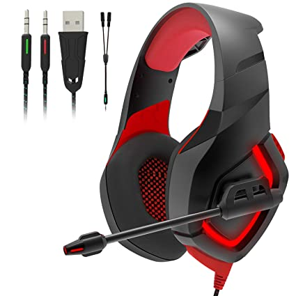 Gaming Headset PS4 with Mic,Stereo Gaming Headset with Volume Control, LED Light Soft