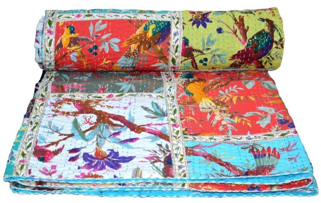 Indian Patch Work Cotton Kantha Quilt Queen Bedspreads Throw Blanket (Multi Birds) Bohemian Bedspread , Bohemian Bedding , Handmade Kantha Quilt , King Size Kantha Quilt , Patch Quilt , Bed Cover, janki creation