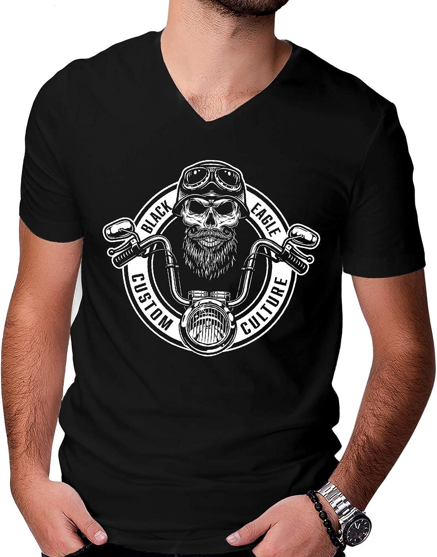 Camiseta para hombre con diseño de calavera de motero, cuello en V, manga corta M-XL Negro L: Amazon.es: Ropa y accesorios