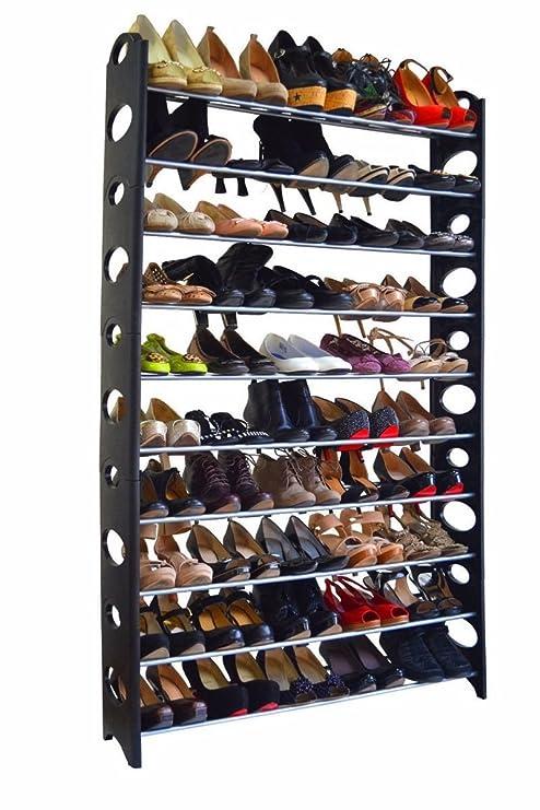 50 Pair 10 Tier Space Saving Storage Organizer Free Standing Shoe Tower Rack