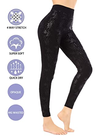 df06ab7d949cc Amazon.com: UUANG Women's High Waist Leggings Opaque Stretch Yoga Pants  Leggings - Full Length (Tiny Flower, Medium): Clothing