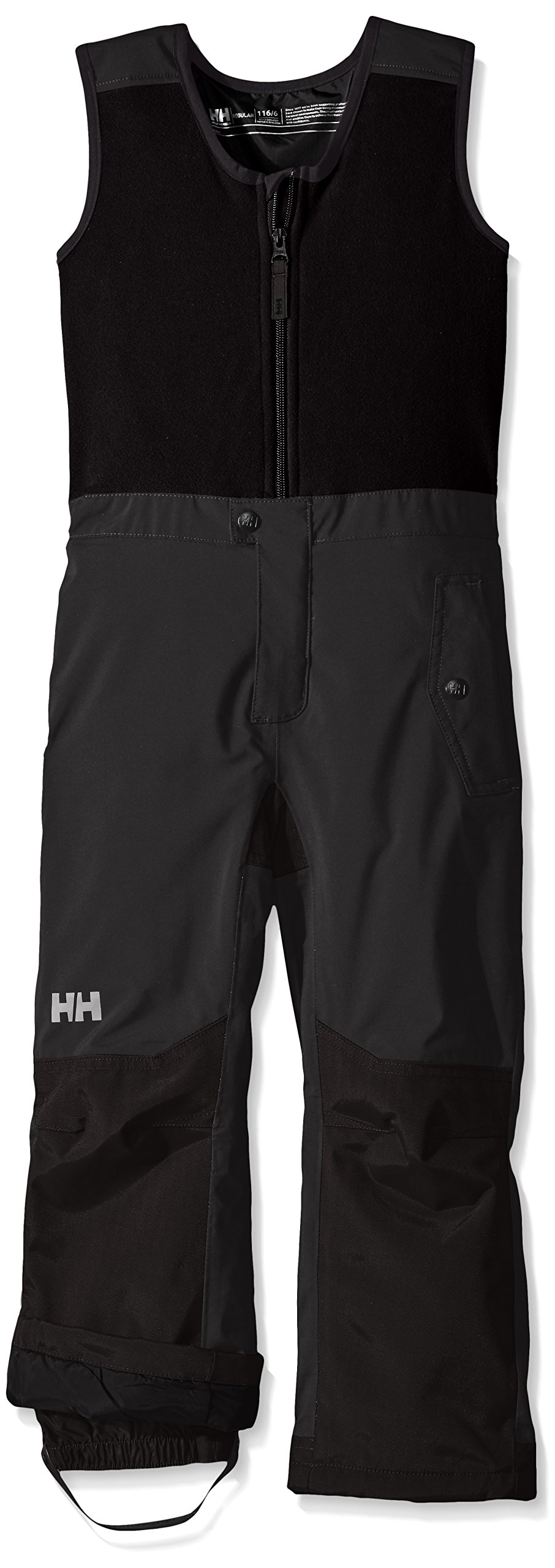 Helly Hansen Kids Powder Bib Pants, Ebony, Size 8