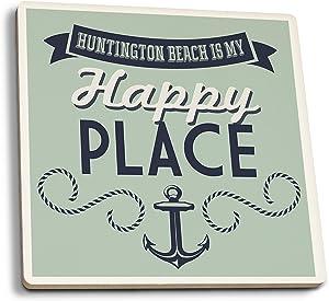 Lantern Press California - Huntington Beach is My Happy Place (Set of 4 Ceramic Coasters - Cork-Backed, Absorbent)