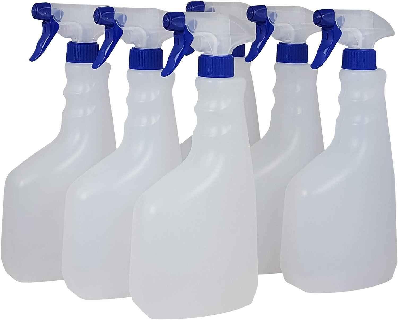 Super Net Cali Botella pulverizador vaporizador de plástico. 750 ml. Rellenable para jardín, Limpieza, Industria, hogar y Profesional. Resistente Productos químicos. (6 Unidades)