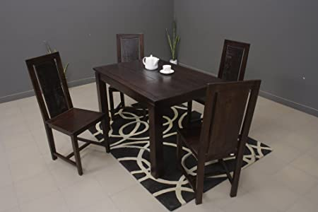 Heritage Prime Milano Rectangle Four Seater Solid Wood Dining Table Set (Rich Brown Finish)