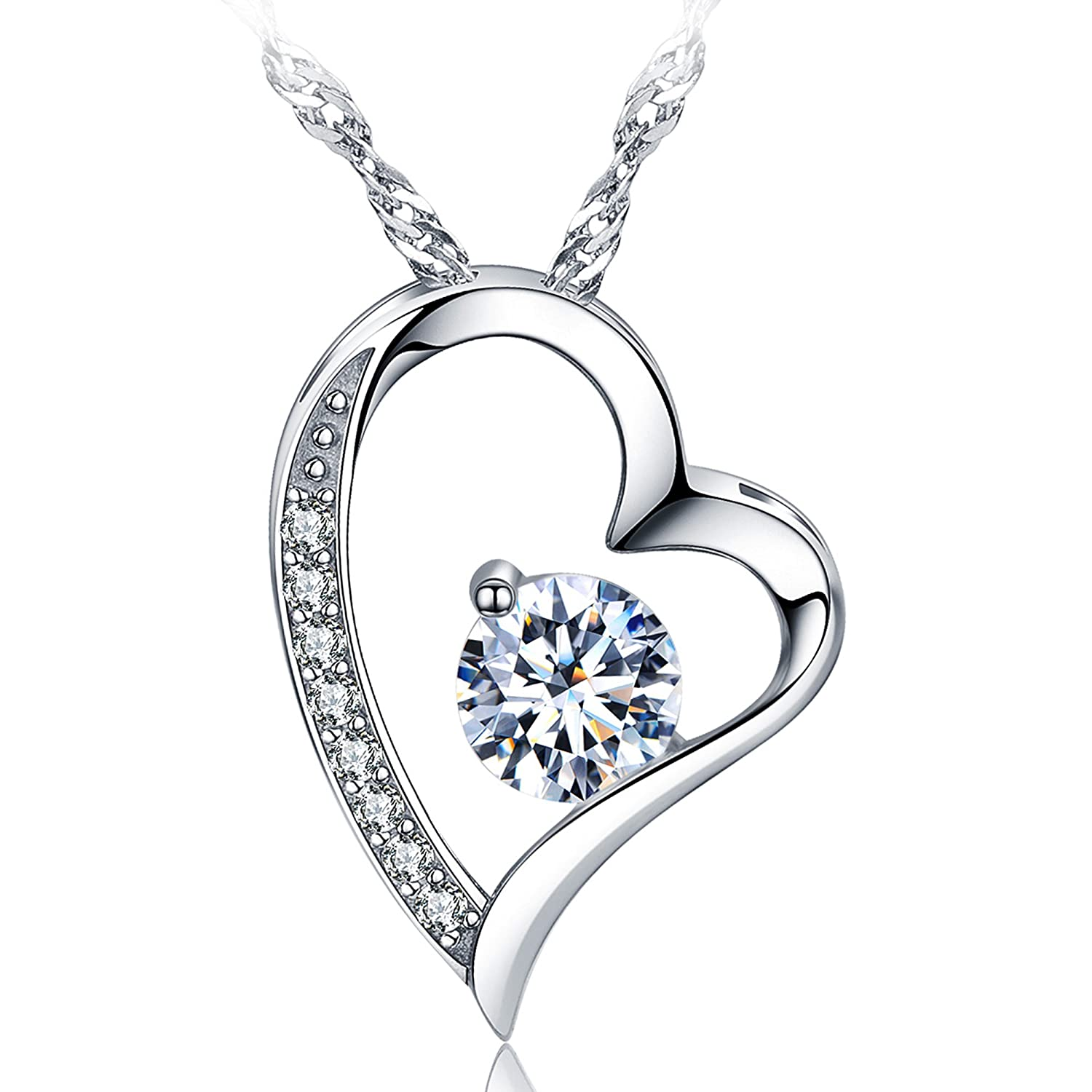 sephla 14k White Gold Plated Forever Lover Heart Pendant Necklace SEN00137