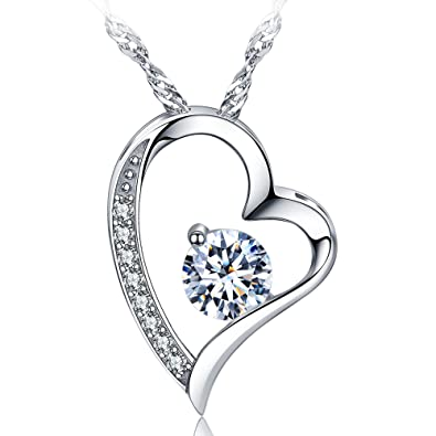 Amazon sephla 14k white gold plated forever lover heart sephla 14k white gold plated forever lover heart pendant necklace mozeypictures Images