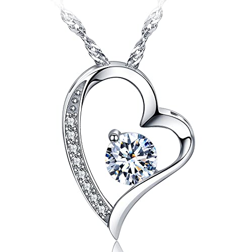 426de58f379 sephla 14k White Gold Plated Forever Lover Heart Pendant Necklace