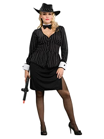 Gangster Costumes & Outfits | Women's and Men's Gorgeous Gangster Plus Size Costume $55.49 AT vintagedancer.com