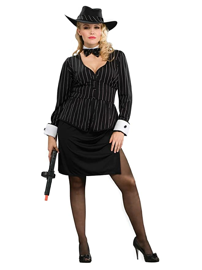 1930s Costumes- Bride of Frankenstein, Betty Boop, Olive Oyl, Bonnie & Clyde Forum Novelties Womens Gangster Plus Size Costume $34.77 AT vintagedancer.com