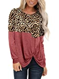 SAMPEEL Women's Long Sleeve T Shirt Leopard Tunic Tops Sweatshirt
