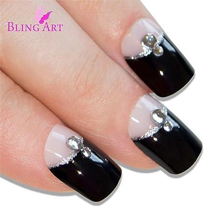 Uñas Postizas Bling Art Negro Crystal 24 Squoval Medio Falsas puntas acrílicas con pegamento: Amazon.es: Belleza
