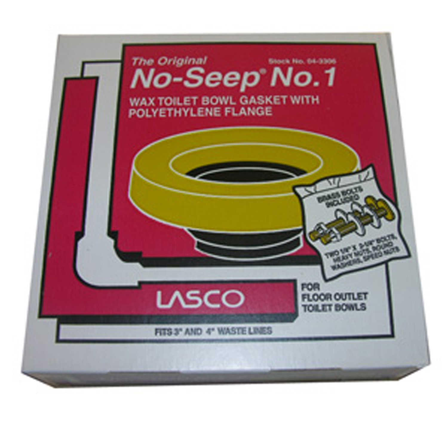 LASCO 04-3306-MASTER Bowl Wax Ring #1, with Polyethylene Flange, Fits 3 4-Inch Waste Line, Brass Toilet Bolts Included, 24-Pack by LASCO