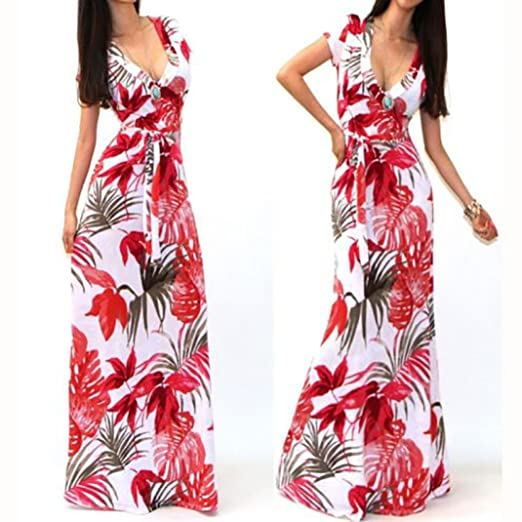 Kwok Women's Summer Boho Long Maxi Dress Beach Dresses (M)