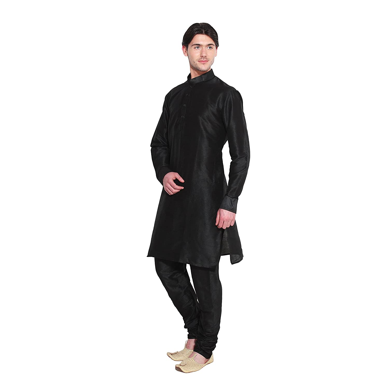 Amazon.com: Mens Kurta Pajama Set Black Bollywood Designer Ethnic Wedding Indian Apparel: Clothing