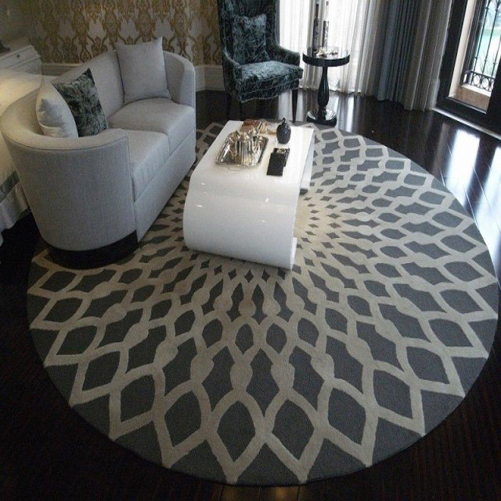 HR Teppich, Runder Teppich, Wohnzimmer Schlafzimmer Bedside Home Chair Große Fläche Teppich Geometrisches Muster Schwarz Weiß Grau Kreativer Teppich (Farbe : Gray, größe : 200cm)