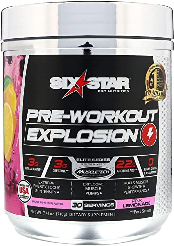 Six Star Explosion Pre Workout, Powerful Pre Workout Powder with Extreme Energy, Focus and Intensity , 7.41 Ounce Pink lemonade
