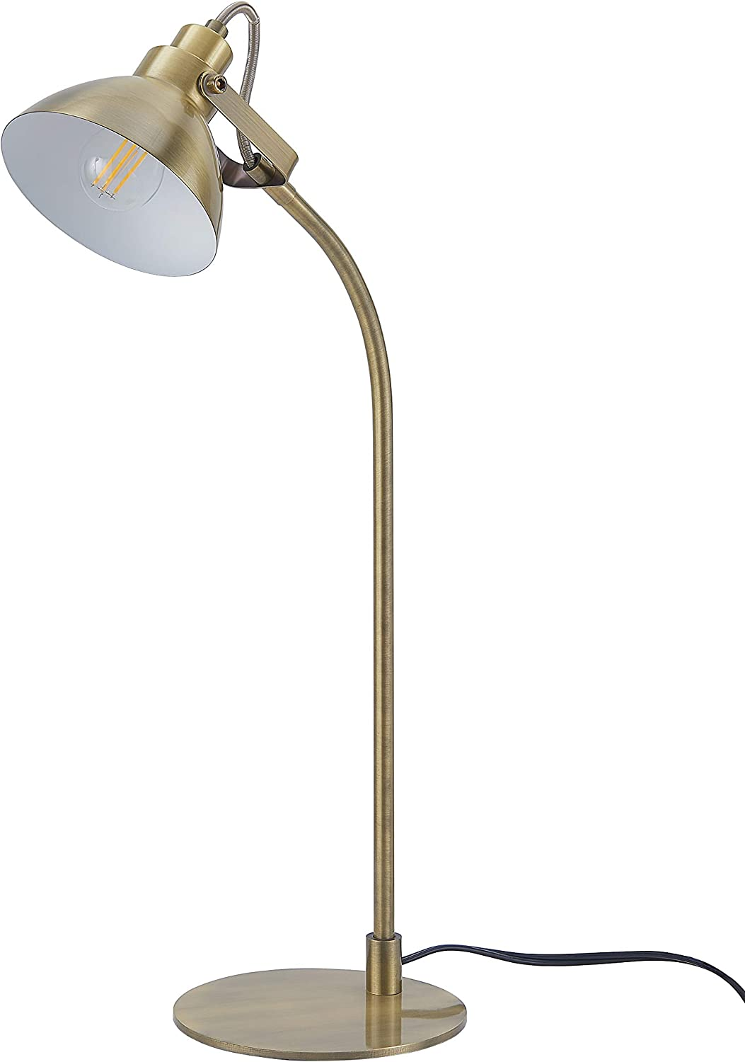 Archiology Ottone Desk Lamp, Traditional Brass Plated Table Light and Lampshade, Simple Fixture for Home Office Studio, 22