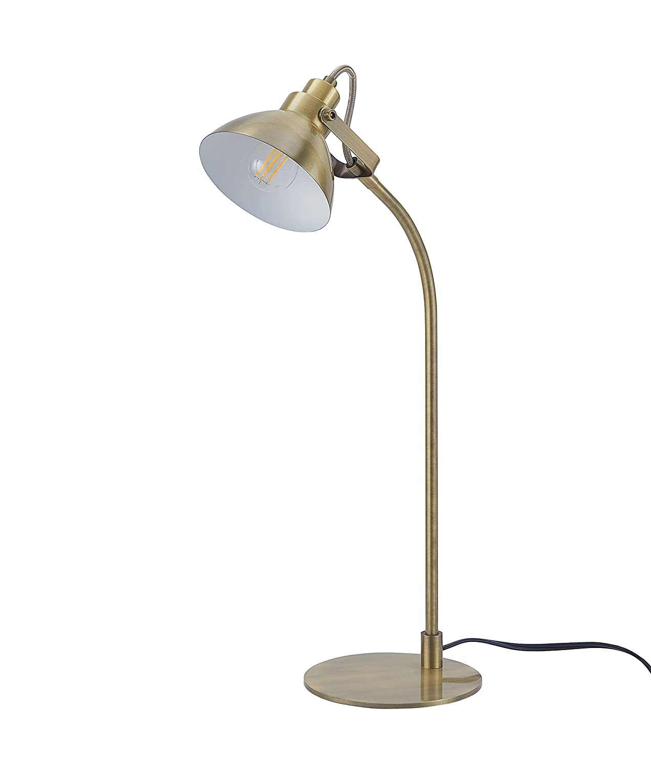 Archiology Ottone Desk Lamp, Traditional Brass Plated Table Light and Lampshade, Simple Fixture for Home Office Studio, 22""