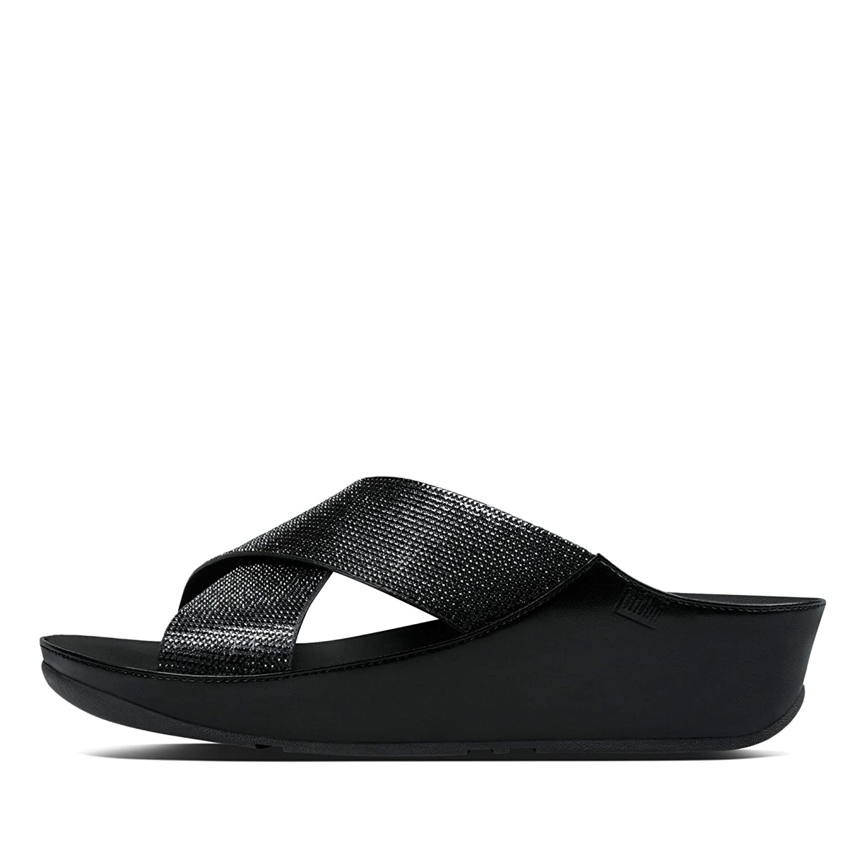 FitFlop™ Crystall Folie Damen Sandalen Sandalen Damen schwarz 19fe5b