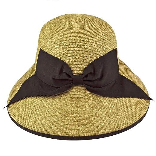c91fa67b140 Womens Summer Sun Hat Wide Brim UV Protection Paper Straw Bucket Cap ...