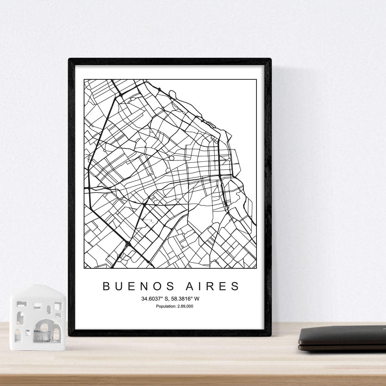 Nacnic Lámina Mapa de la Ciudad Buenos Aires Estilo nordico en ...