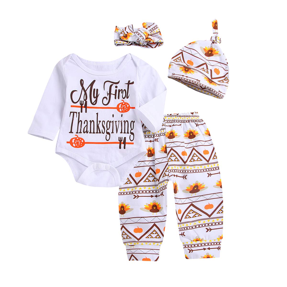 Amazon.com  Infant Baby Boy Girl Toddler Clothes First Thanksgiving Outfit  Rompers Pants Hat Headband Outfits 4pcs Set  Clothing bffc06a6c