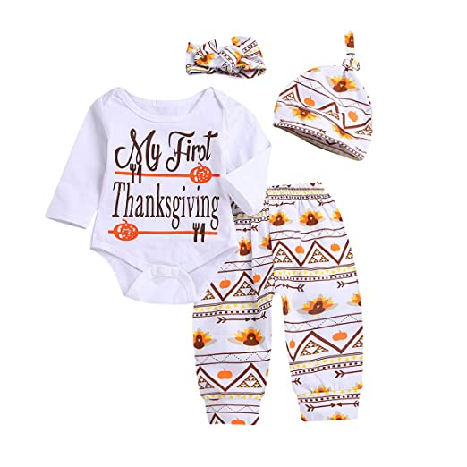 36dbf86a0d2e Infant Baby Boy Girl Toddler Clothes First Thanksgiving Outfit Rompers  Pants Hat Headband Outfits 4pcs Set