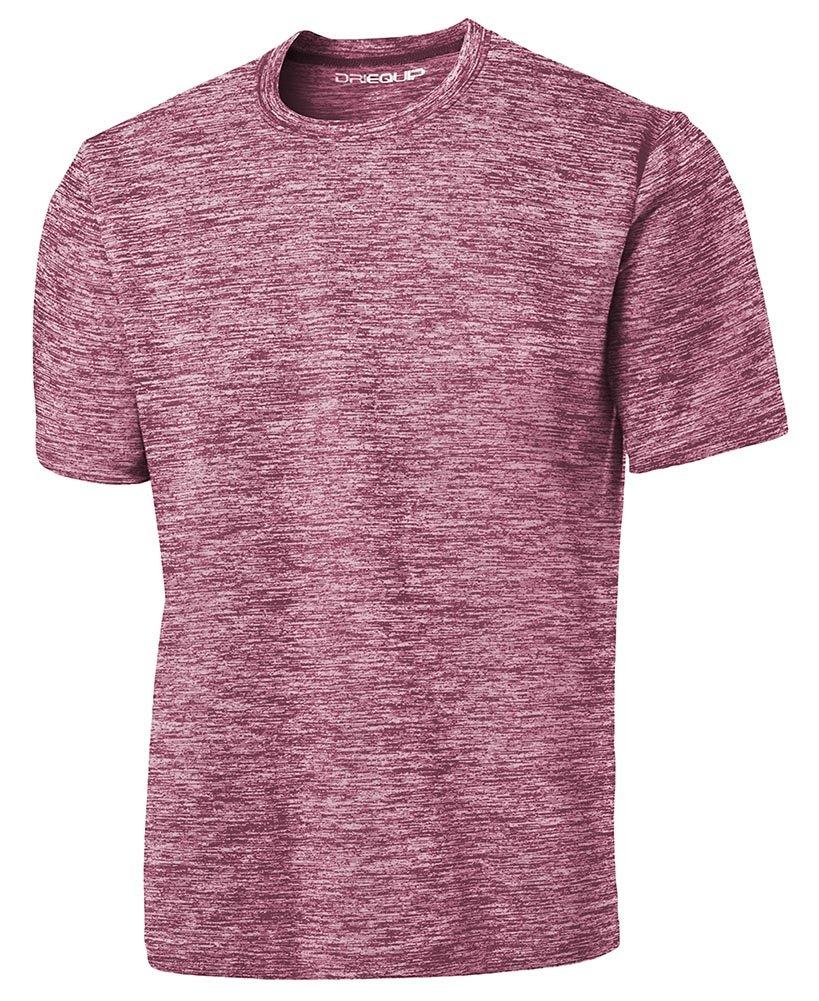 DRIEQUIP Men's Short Sleeve Moisture Wicking T-Shirt-ElectricMaroon-S by DRIEQUIP