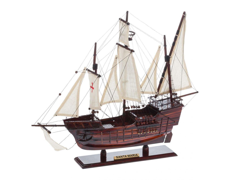 Modello di nave Santa Maria legno Columbus punta nave a vela caravella aubaho