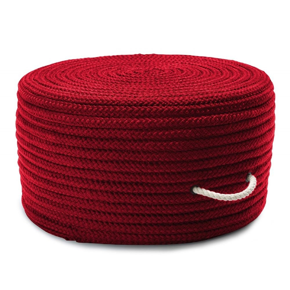 Colonial Mills Braided Round pouf/ottoman 20''x20''x11'' in Red Color From Simply Home Solid Pouf Collection