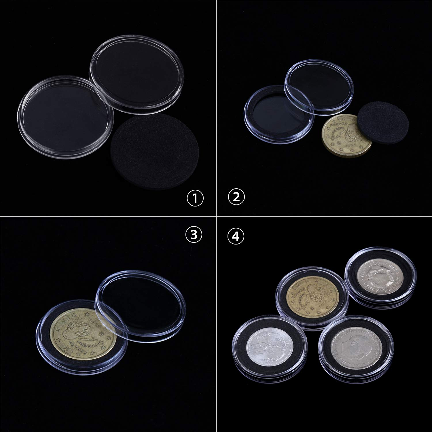 dewdropy 50PCS Round Coin Capsules With Wooden Storage Box Plastic Coin Collection Holder Acrylic Coin Display Case Organizer Container For Collectors